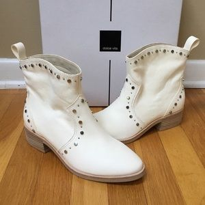 DOLCE VITA Tobin Studded Off White Leather Bootie